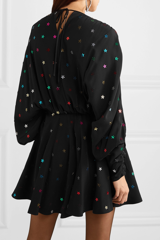 The Attico Gathered sequin-embellished crepe de chine mini dress