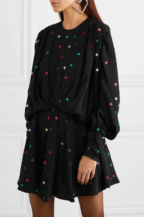 Gathered sequin-embellished crepe de chine mini dress
