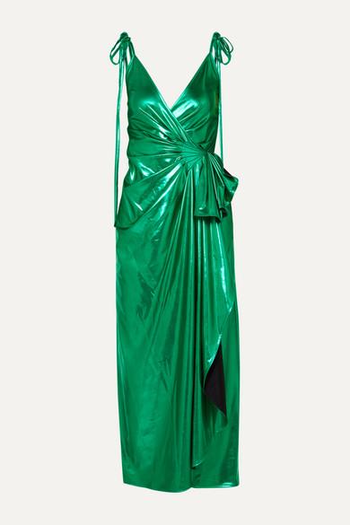 Gathered Lurex Wrap Dress by Attico