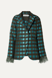 Davina feather-trimmed cutout checked tweed blazer