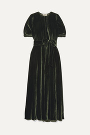 Brooke belted velvet maxi dress