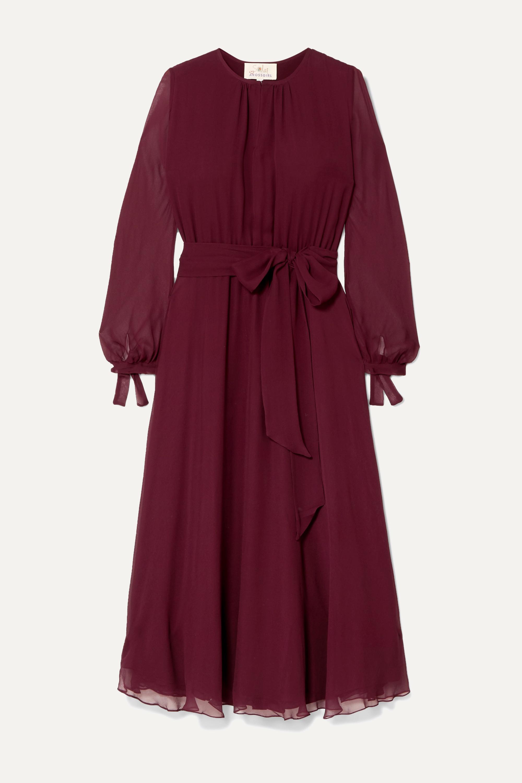 ARoss Girl x Soler Amanda belted silk-georgette midi dress