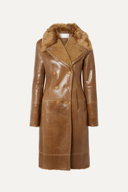 Chloé Double-breasted glossed-shearling coat