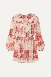 Chloé Pleated printed silk-chiffon mini dress
