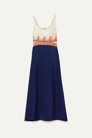 Paneled Embroidered Tulle, Jacquard, Chiffon And Satin Midi Dress by Chloé