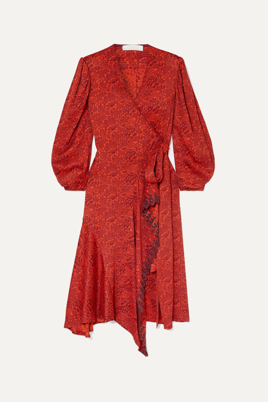 Chloé Asymmetric embroidered floral-jacquard wrap dress
