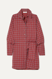 Chloé Knotted checked cotton-blend poplin dress