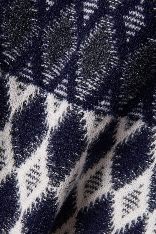 Navy Intarsia Merino Wool-blend Turtleneck Sweater | Chloé