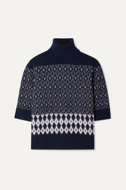 Chloé Intarsia merino wool-blend turtleneck sweater