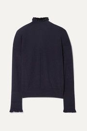 Chloé Ruffled button-detailed cashmere turtleneck sweater