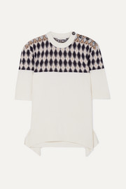Chloé Button-embellished argyle merino wool-blend sweater