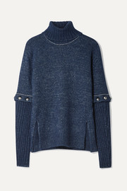Chloé Convertible button-detailed knitted turtleneck sweater