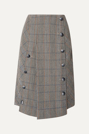 Chloé Button-embellished checked wool-blend midi skirt
