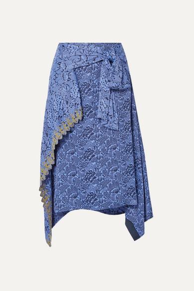 Chloé Skirts Asymmetric embroidered floral-jacquard skirt