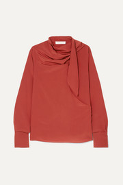 Chloé Tie-neck draped silk crepe de chine blouse