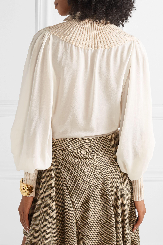 Chloé Ribbed wool-blend and silk-chiffon turtleneck top