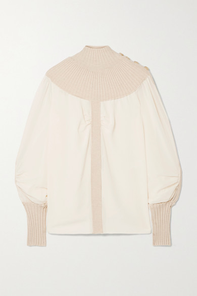 Chloé Tops Ribbed wool-blend and silk-chiffon turtleneck top