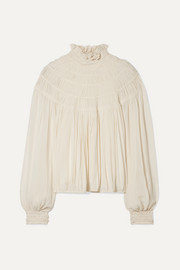 Chloé Ruffled pleated silk-crepe blouse