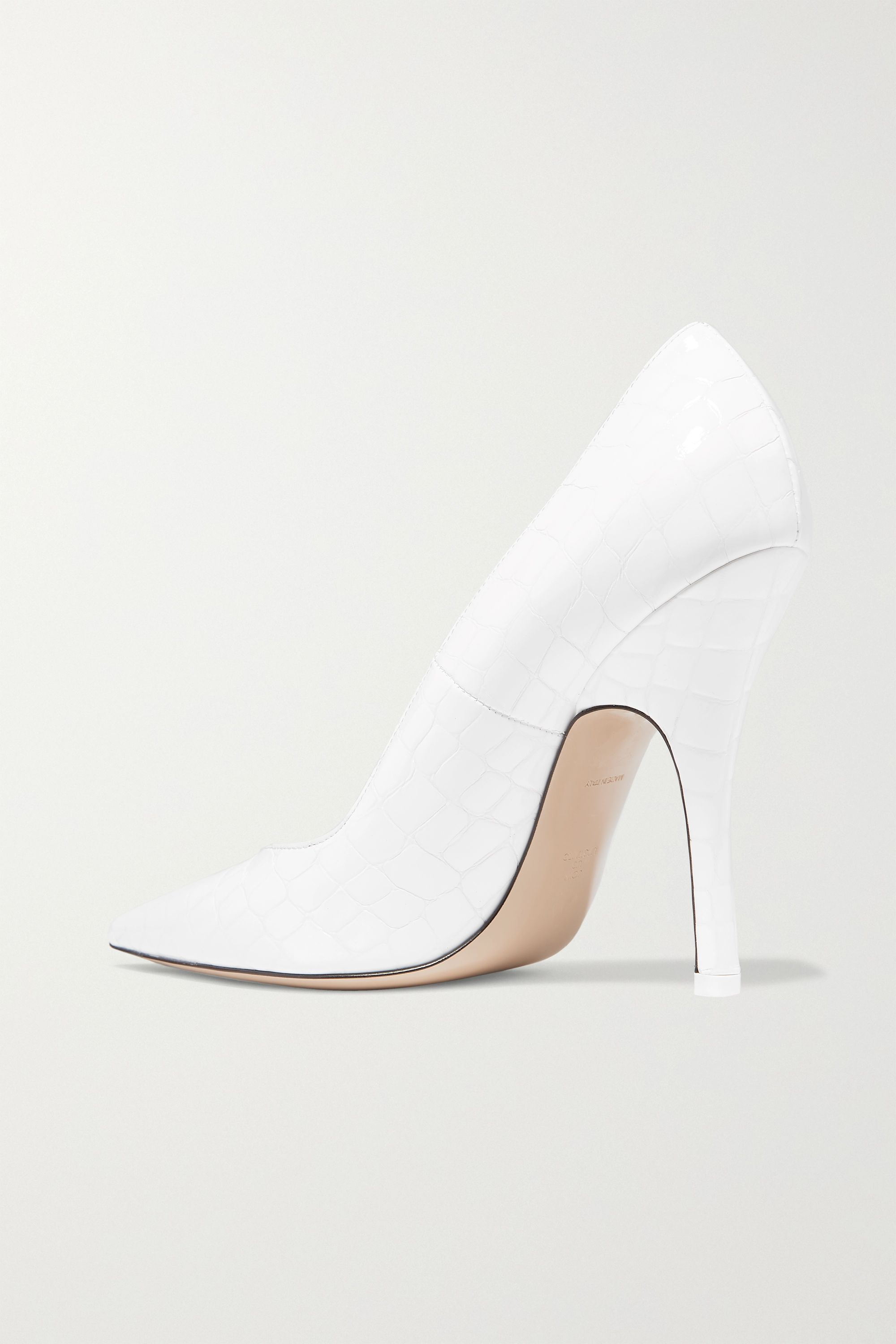The Attico Sophie glossed croc-effect leather pumps