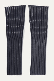 Chloé Coated ribbed wool-blend arm warmers