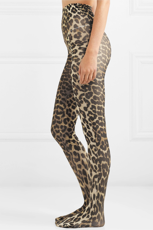 GANNI Collants à imprimé léopard 60 deniers x Swedish Stockings