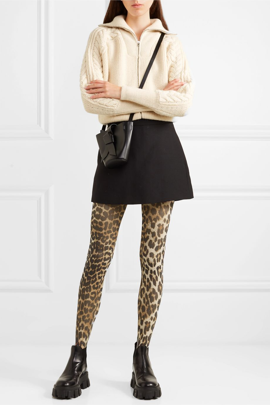 GANNI + Swedish Stockings Strumpfhose mit Leopardenprint 60 den