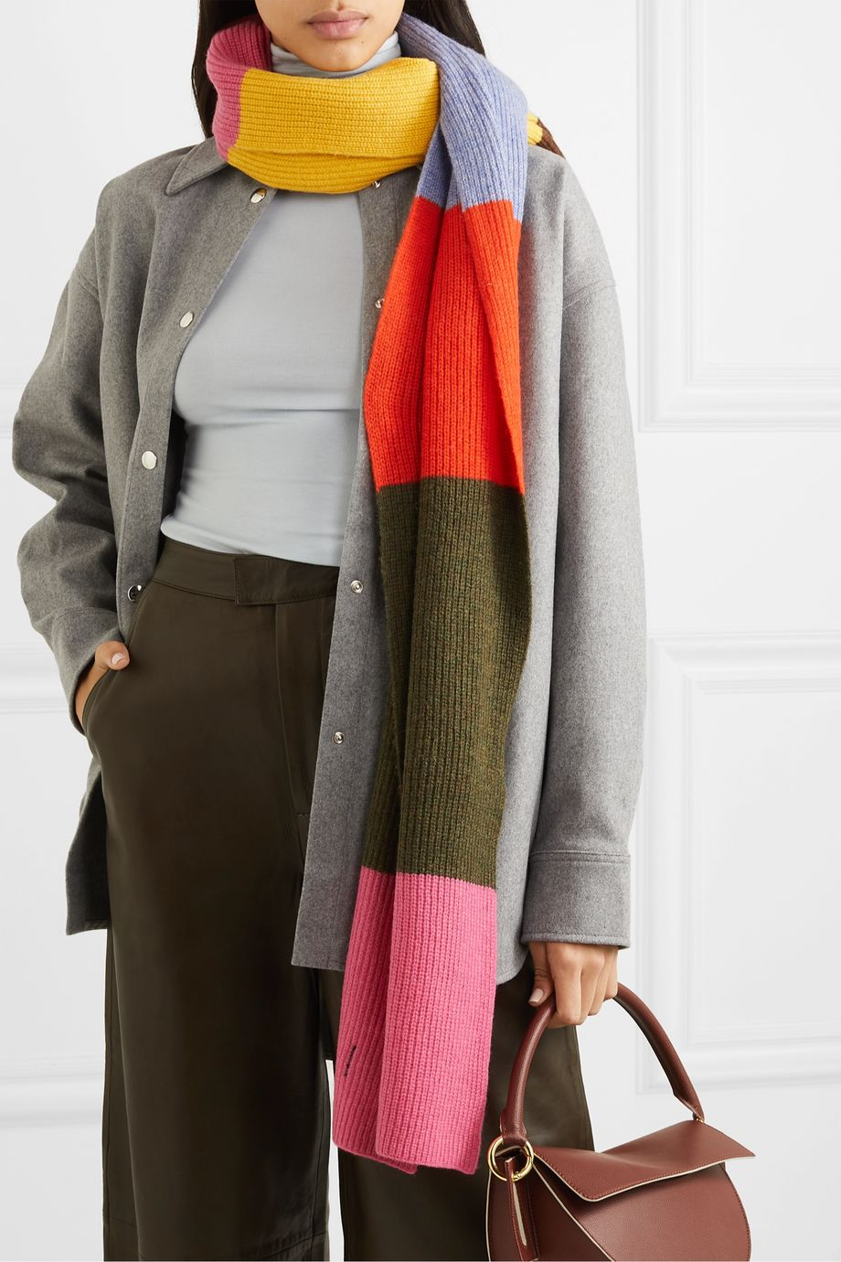 GANNI Striped wool-blend scarf