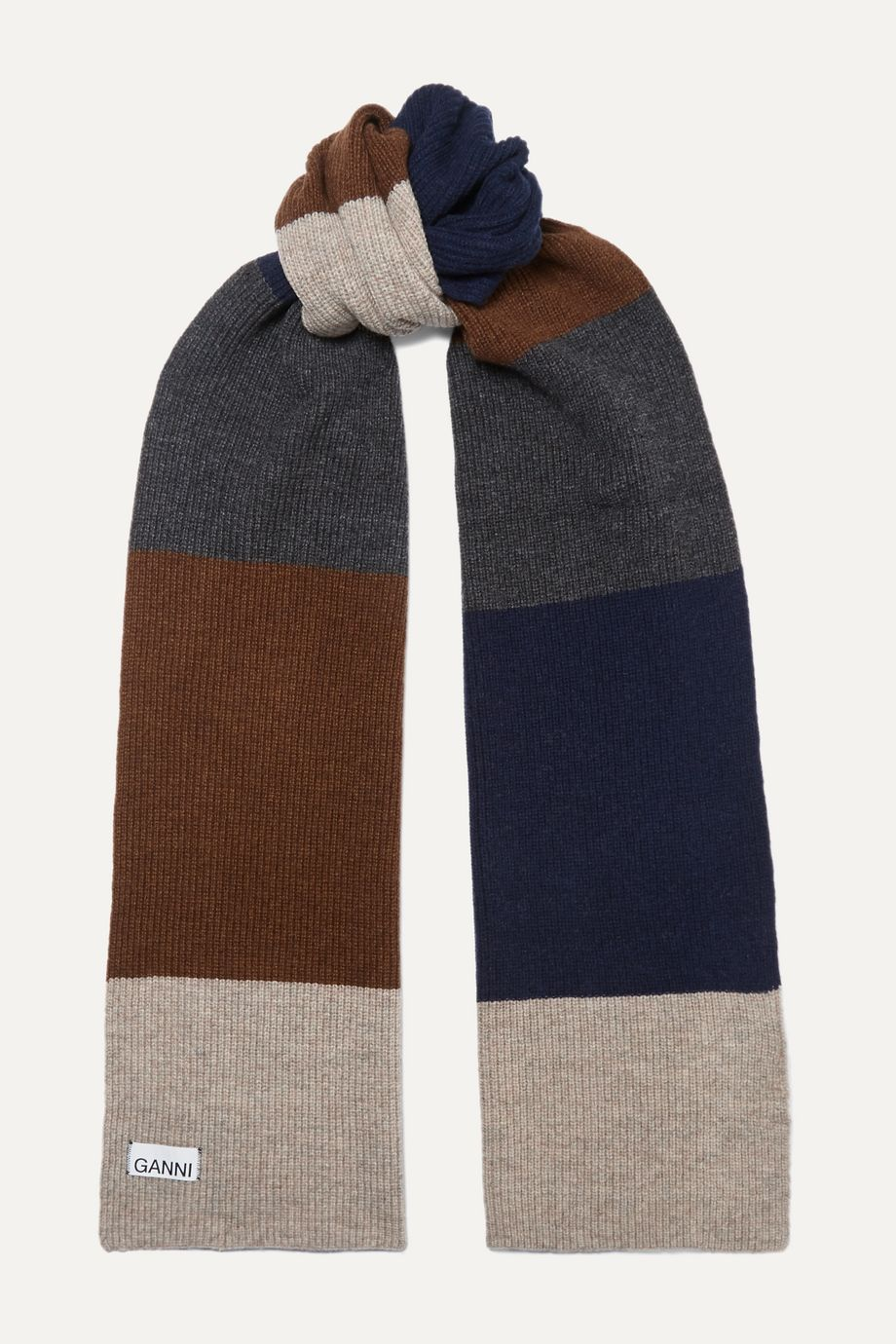 GANNI Color-block wool-blend scarf