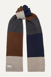 Color-block wool-blend scarf