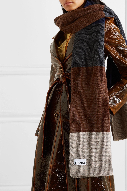 GANNI Color-block wool-blend scarf