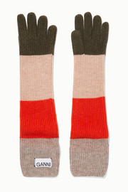 GANNI Striped wool-blend gloves