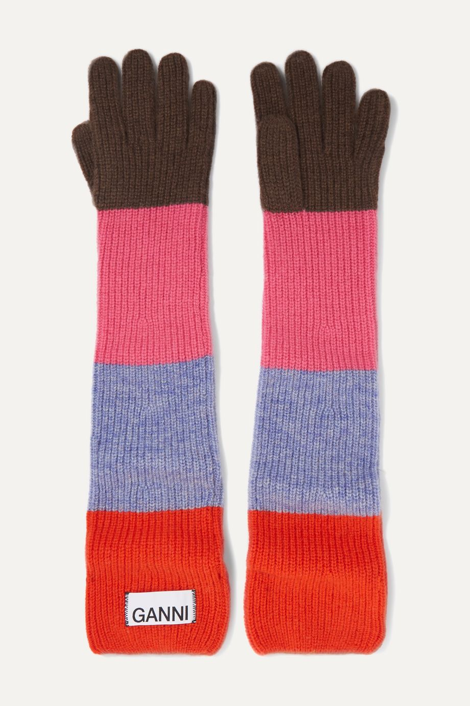 GANNI Ribbed striped wool-blend gloves