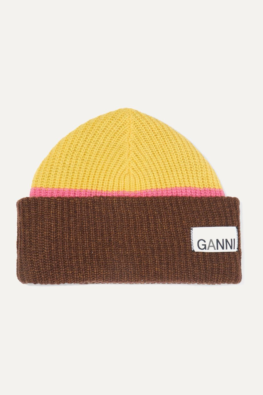 GANNI Ribbed striped wool-blend beanie