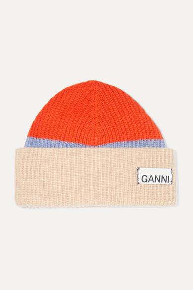 Gestreifte Beanie Aus Gerippter Wollmischung by Ganni