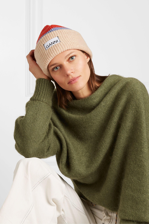 GANNI Ribbed striped wool-blend beanie