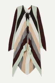 Metallic striped crocheted wool-blend cape