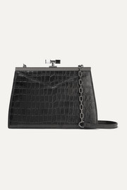 Chateau glossed croc-effect leather shoulder bag