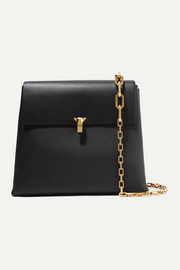 Po Day smooth and textured-leather shoulder bag