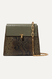 Po Day croc-effect, snake-effect and textured-leather shoulder bag
