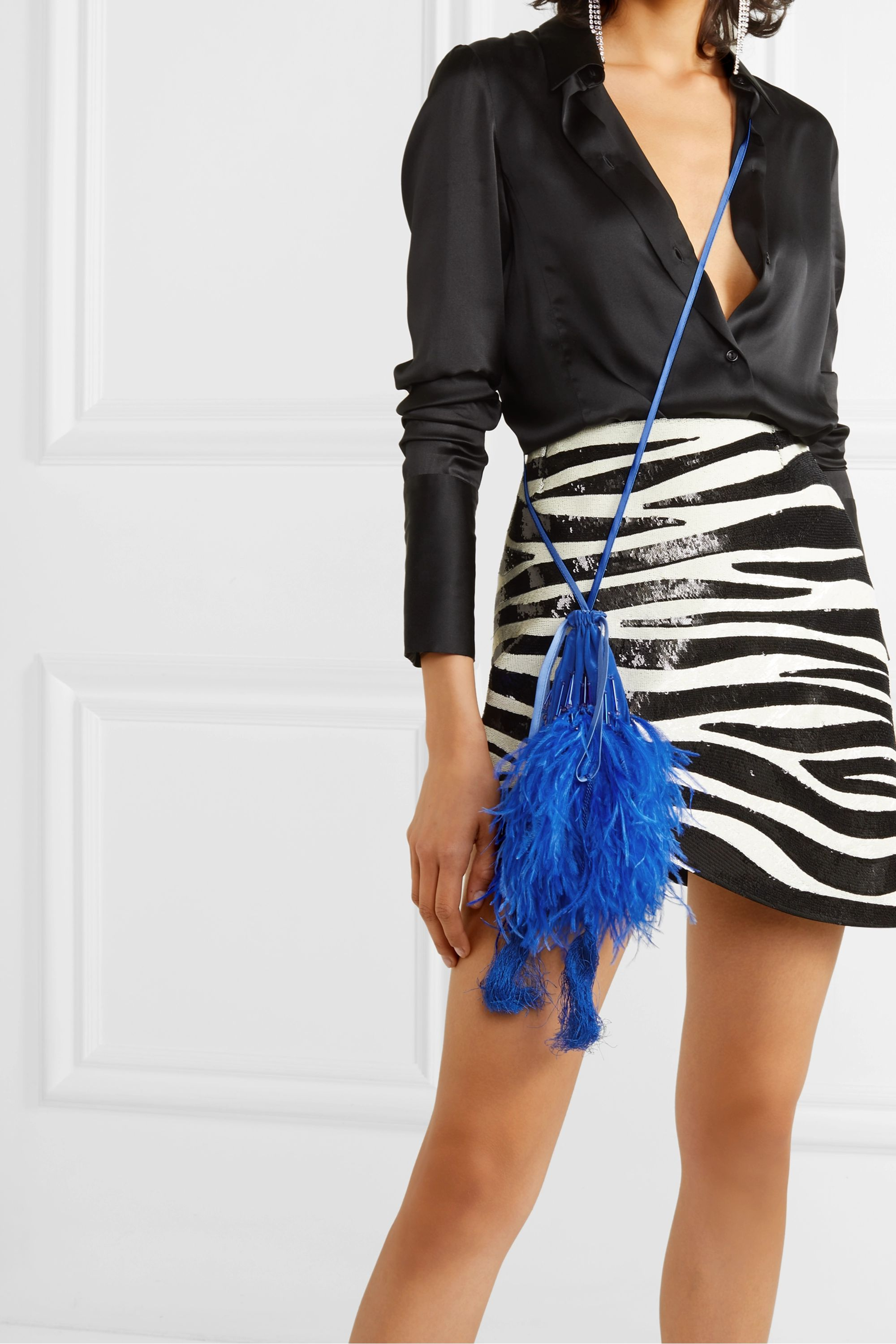 The Attico Feather-trimmed beaded silk pouch