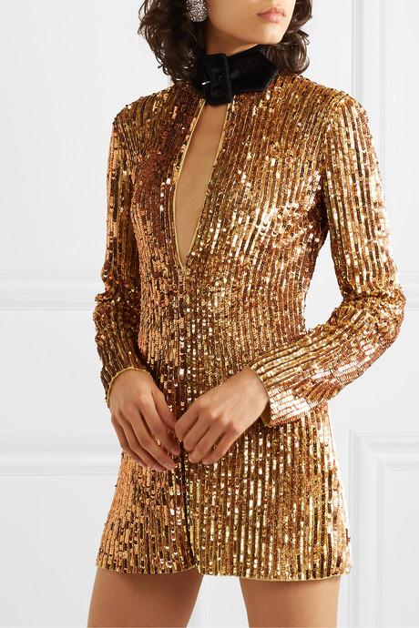 Velvet-trimmed embellished sequinned tulle mini dress