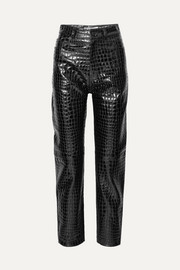 Croc-effect leather tapered pants
