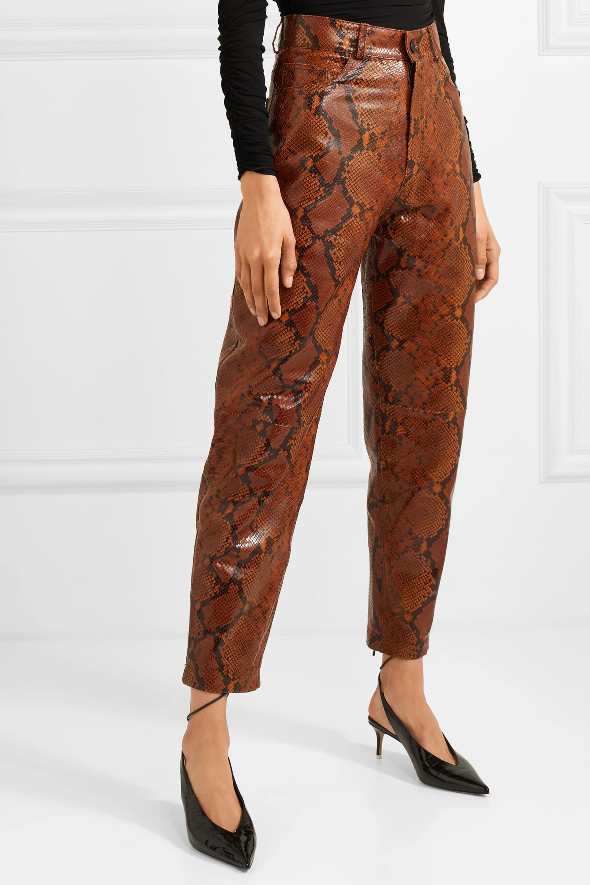 The Attico Snake-effect leather tapered pants