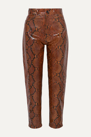Snake-effect leather tapered pants