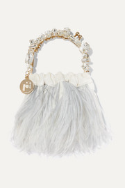 Diana mini embellished feather-trimmed velvet tote