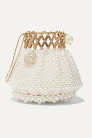 Flora gold-plated faux-pearl clutch