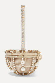 Afrodite faux pearl and crystal-embellished gold-tone and velvet tote