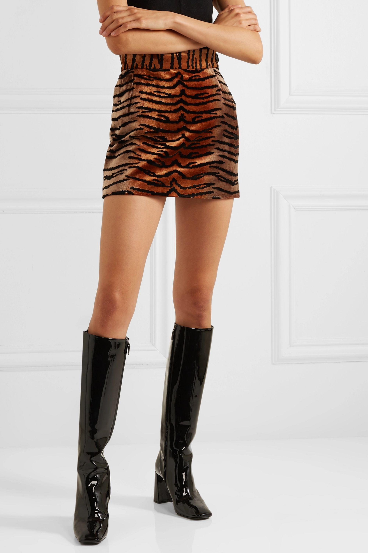 The Attico Velvet-jacquard mini skirt