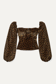 Bow-detailed animal-print velvet top