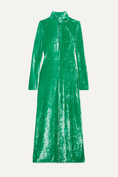 Buckled Cutout Stretch Velvet Dress by Attico
